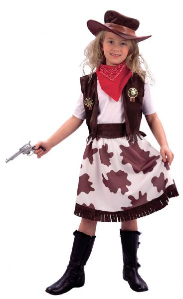 Girls Cowgirl / Cowprint Skirt Costume Wild West Fancy Dress Outfit